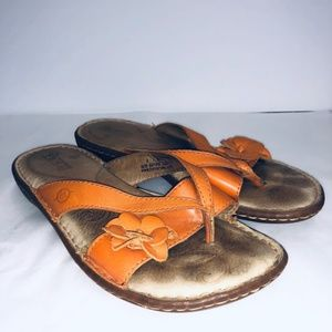 Born Orange Leather Thong Sandals